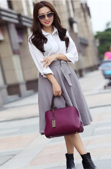 Professional Stylish Woman With Classy Satchel Purple Bag-Front View