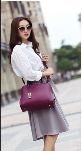 Casual Stylish Woman With Purple Classy Satchel Bag-Front View