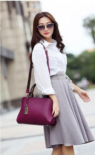 Casual Stylish Woman With Purple Classy Satchel Bag-Side View