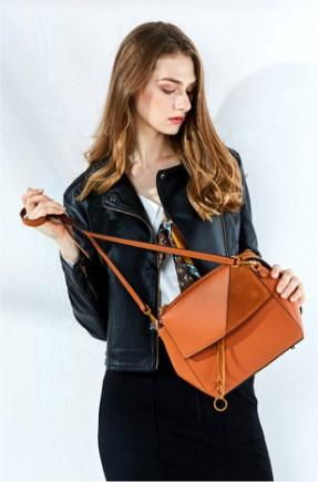 Casual Stylish Woman With Brown Festive Geometric Sling Bag- Side View