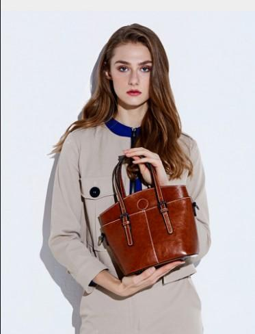 Casual Stylish Woman With Brown Genuine Leather Satchel Bag-Front View