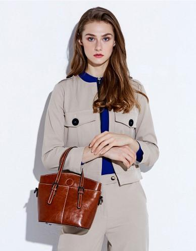 Casual Stylish Woman With Brown Genuine Leather Satchel Bag-Side View