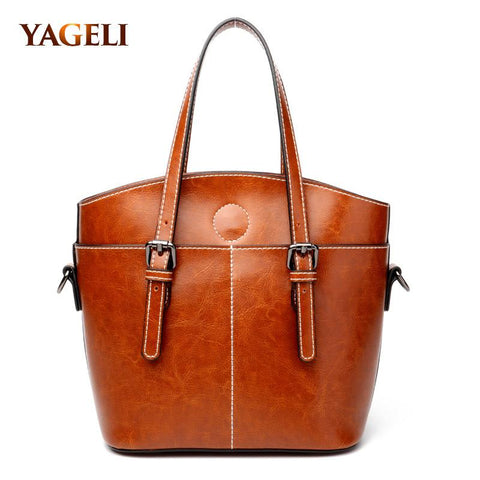 YAGELI Genuine Leather Satchel Bag