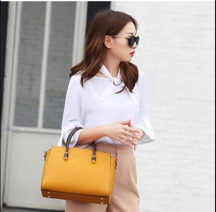 Casual Stylish Woman With Yellow Cool Satchel Bag-Front View