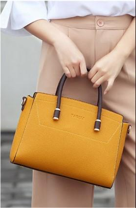 Casual Stylish Woman With Yellow Cool Satchel Bag-Close Front View