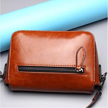 Casual Stylish Brown Modern Edgy Messenger Bag- Back View