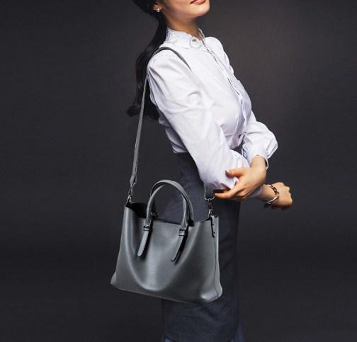 professional stylish woman with Black Tote Bag - Side view