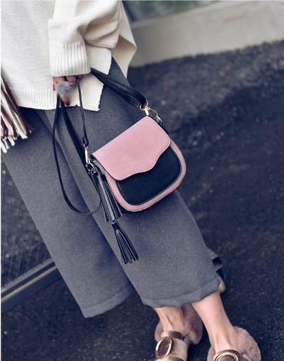Casual Stylish Woman With Pink Eclectic Messenger Bag with Tassel- Side View