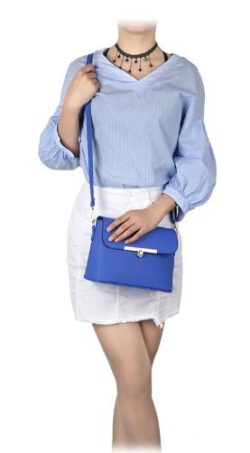Casual Stylish Woman With Blue Modern Chic Messenger Bag- Front View