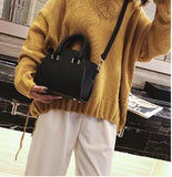 Casual Stylish Woman With Modern Trapeze Handbag-Black Side View