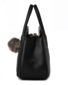 YBYT WOVEN DESIGN BLACK HANDBAG WITH FUR BALL-SIDE VIEW