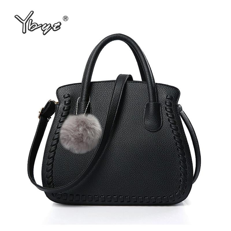 YBYT Woven Design Handbag with Fur Ball - BagPrime - Look Your Best with Amazing Bags