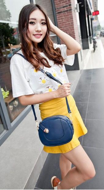 Casual Stylish Woman With Blue Vintage Cool Crossbody Bag - Side View