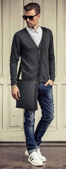 Casual Stylish Man With Blue Woven Messenger Bag - Front View