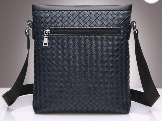 Casual Stylish Blue Woven Messenger Bag - Back View