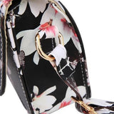 Casual Stylish Black Floral Print Messenger Bag- Side View