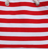 Casual Stylish Red NAUTICAL STRIPED BEACH BAG - Close View
