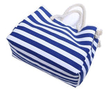 Casual Stylish Blue NAUTICAL STRIPED BEACH BAG - Top View
