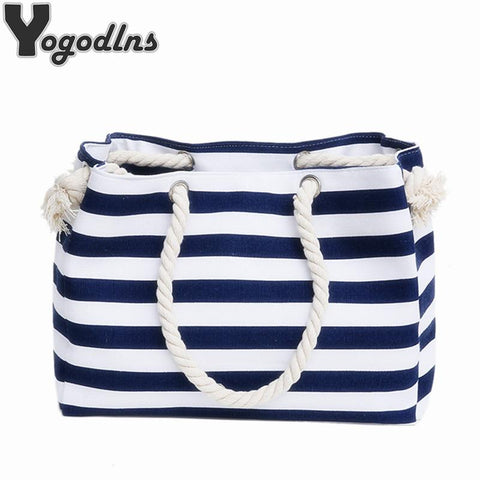 YOGODLNS Nautical Striped Beach Bag