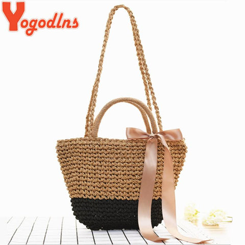 YOGODLNS Straw Shoulder Bag with Ribbon