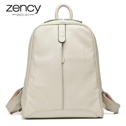ZENCY Preppy Leather Backpack for Women