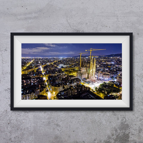 Sagrada Familia by night, photo art print