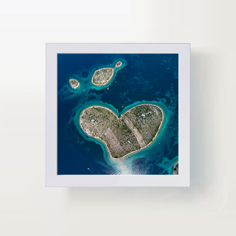 Heart shaped island, photo art print