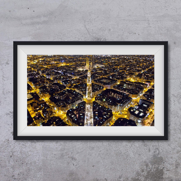 Barcelona by night, photo art print