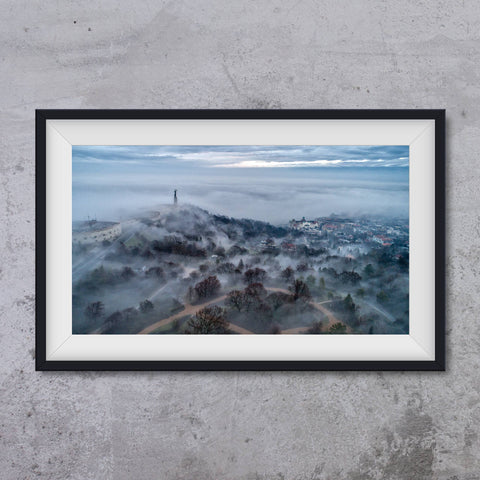 Gellert Hill in foggy morrning with Hotel Gellert in background, photo art print