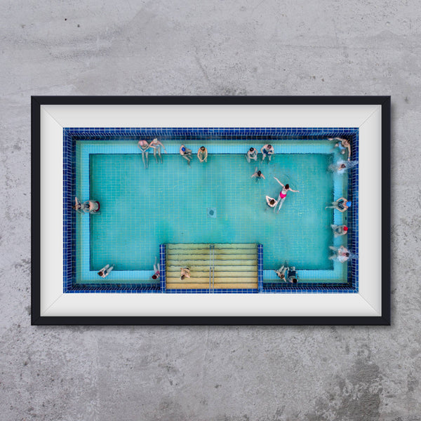 Gellert SPA Budapest, outside pool from air, photo art print
