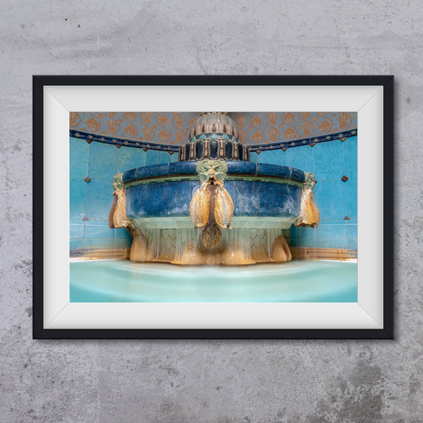 Fountain with gargoyle at Gellert SPA Budapest, photo art print