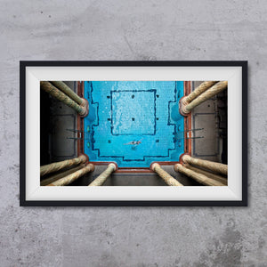 Pool inside of Gellert SPA Budapest from an aerial view, photo art print