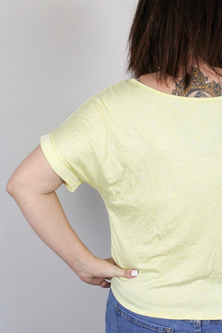 Sally -Embroidered Tie Front Tee
