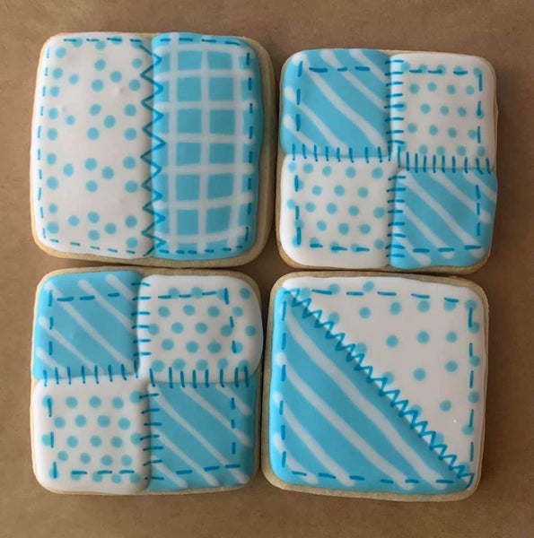 One Dozen Iced Quilt Block Cookies