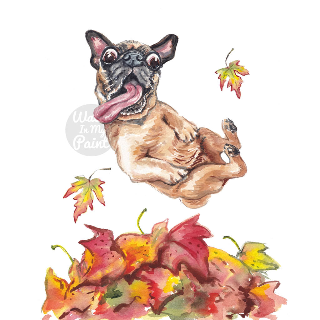 Watercolour painting of a pug dog happily jumping into Autumn leaves