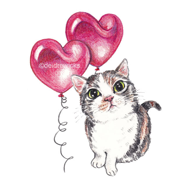 A crayon drawing of a calico cat with two heart shaped balloons