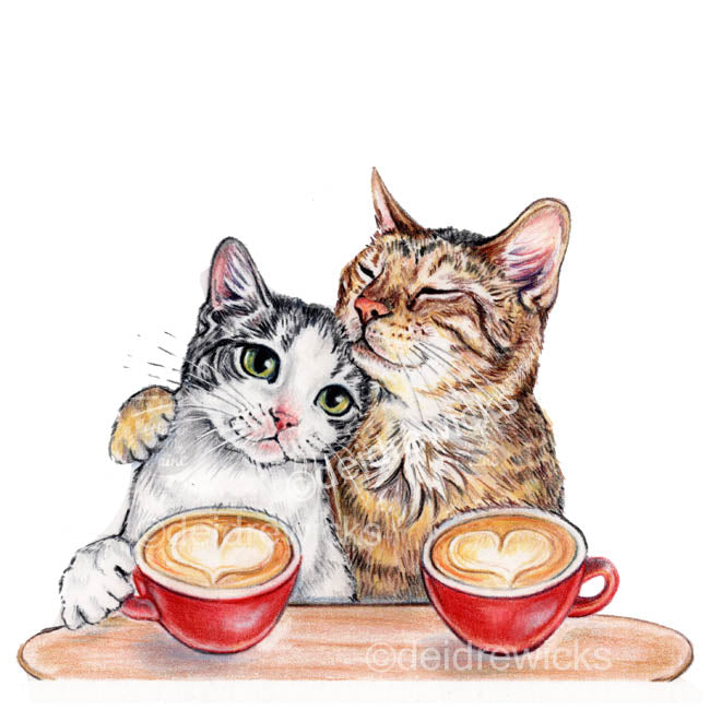 Coloured pencil drawing of 2 cats who are deeply in love