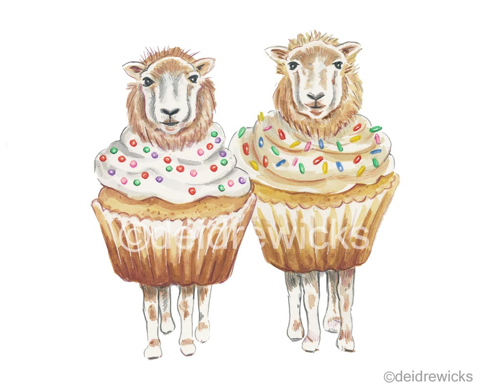 Watercolour painting of 2 lambs dressed as vanilla cupcakes