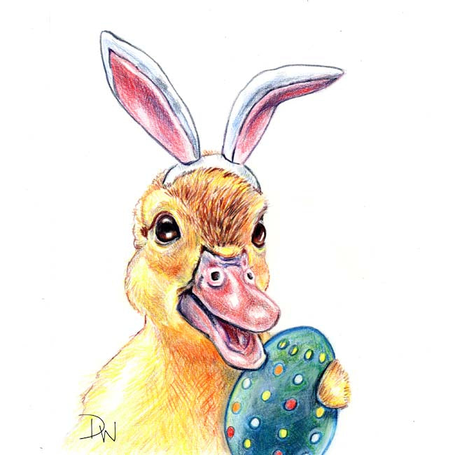 A coloured pencil drawing of a duckling dressed like the Easter bunny and holding a painted egg
