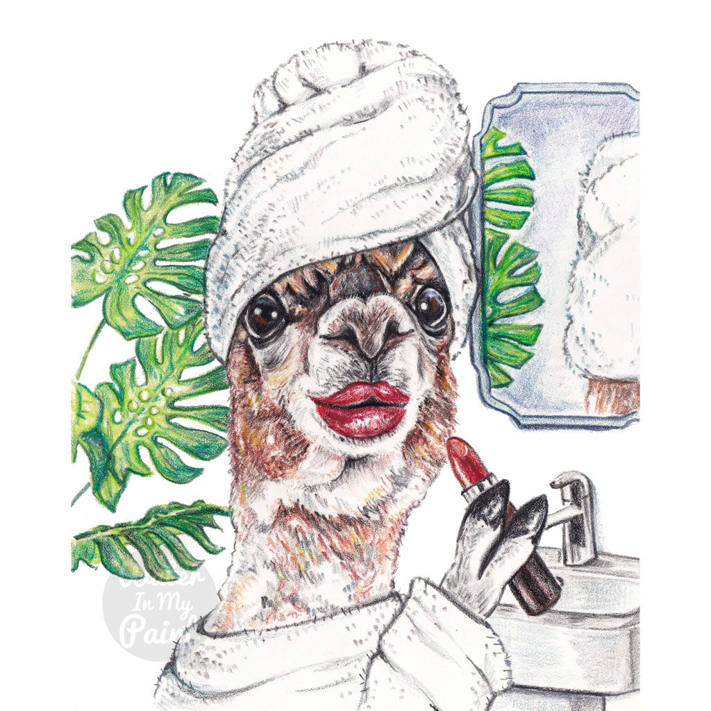 Crayon drawing of a llama applying red lipstick with a towel on her head