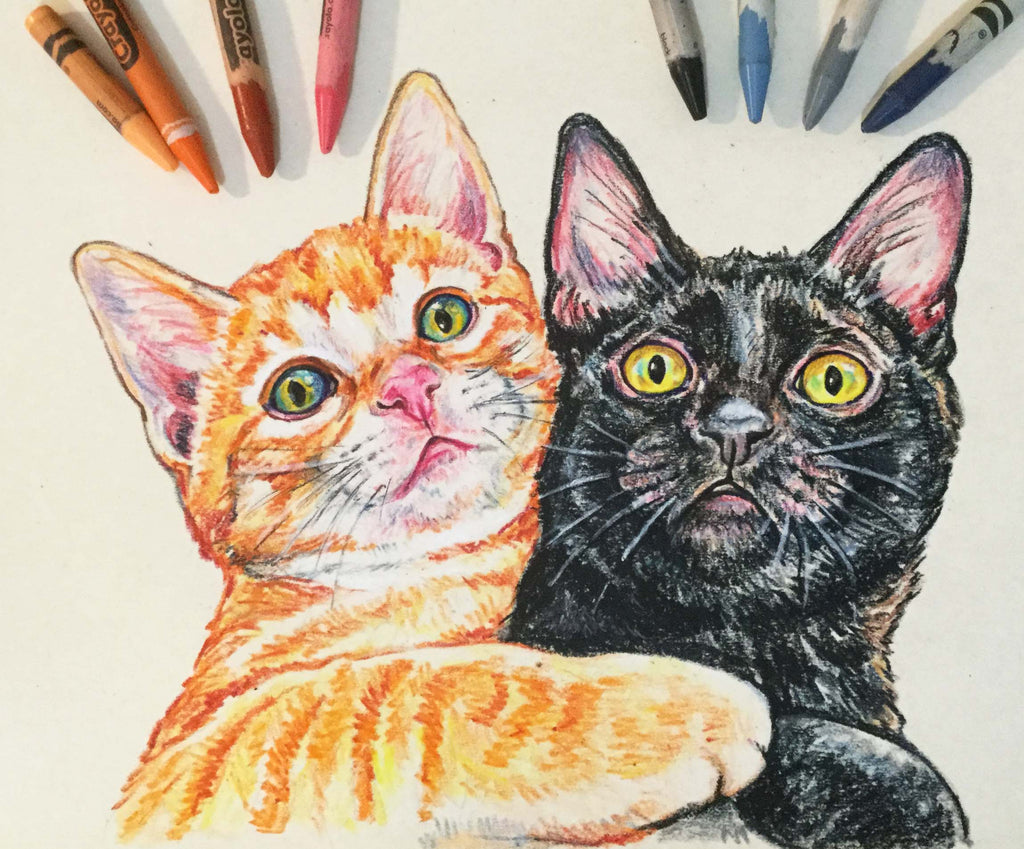 Crayon drawing of an Orange tabby and black cat. Beware my little scaredy cats, it's Halloween season!