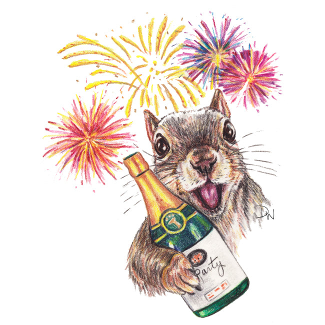 Crayon drawing by Water In My Paint of an excited squirrel holding a champagne bottle and welcoming the New Year