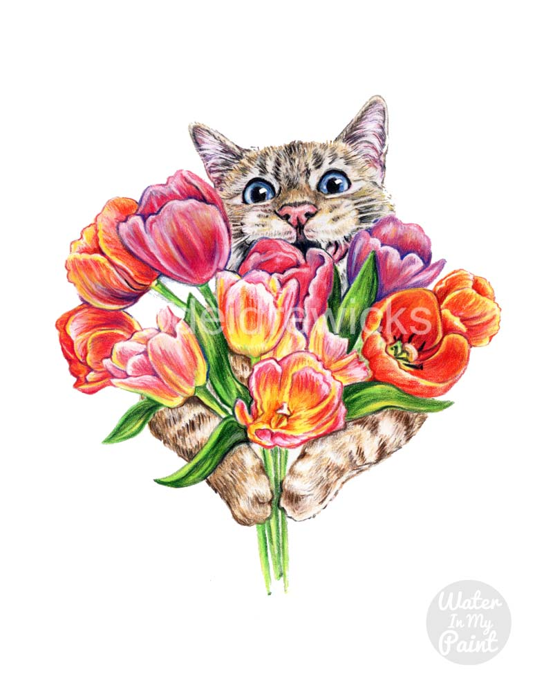 Coloured pencil drawing of a happy tabby cat holding a bunch of colourful tulips. It's Spring!