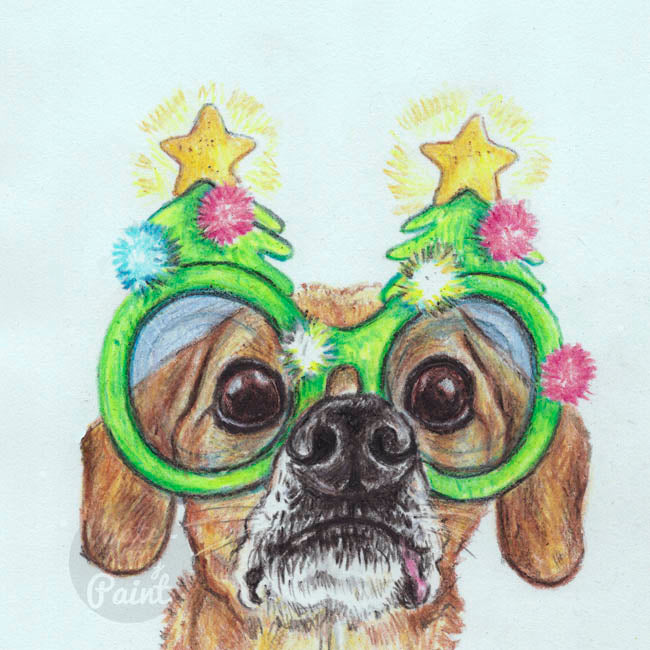 Crayon drawing of a chiweenie dog wearing a pair of Christmas tree shaped novelty glasses