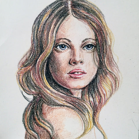 Crayon portrait of a young woman