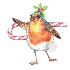 Crayon drawing of a  Christmas robin singing her heart out