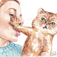 Watercolour of a human girl trying to kiss a horrified cat