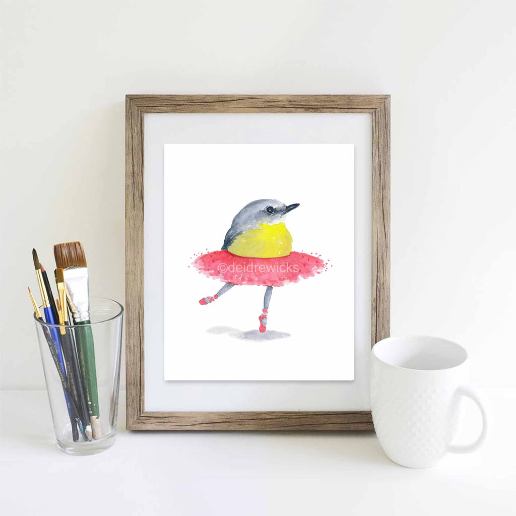 Suggested framing for a ballet birdie watercolour print by Water In My Paint
