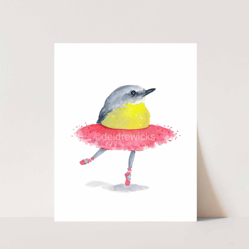 Print of a ballet bird wearing a pink tutu by Deidre Wicks