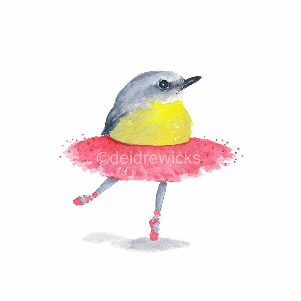 Watercolour painting of a robin bird wearing a tutu and on pointe
